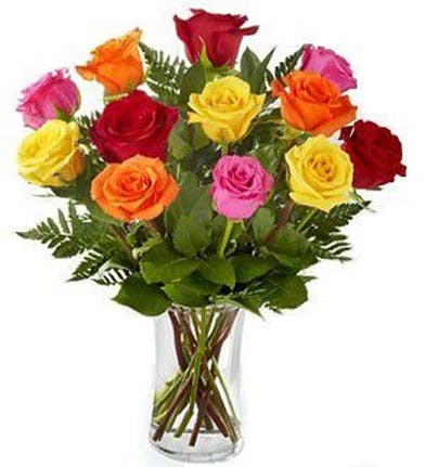 12 Roses in Mixed Colors - Valentine's Day- Mission Viejo Florist